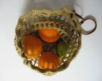 small net market lunch bag hemp wool leather strap