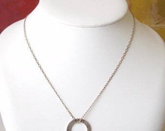 """Vintage Sterling Silver LOVE Circle Pendant on 18"""" Chain"""