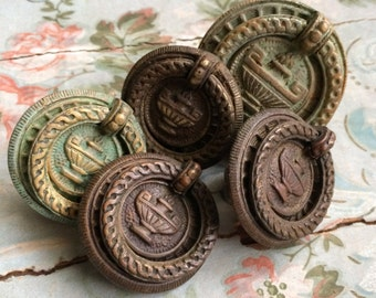 5 Antique Salvaged Drawer Pulls With Urn And Fire Oh Yes And Patina