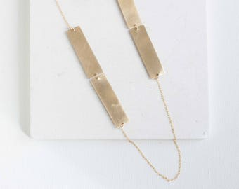 Rectangle Bar Necklace | Brass