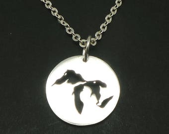 Michigan The Great Lakes Map Necklace Pendant - The Great Lakes Jewelry, Keepsake Necklace, State of Michigan