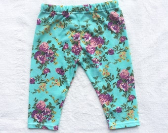 SALE Green, Pink, Coral, Floral, Flower, Baby Girl, Knit Leggings Pants