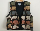 1990s colorful embroidered elephant vest M