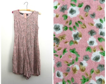 90s rose pink spring wildflowers lace up romper size M