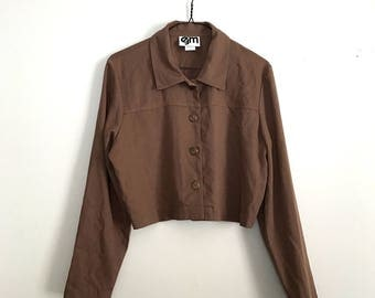 1990s light brown cropped jacket L