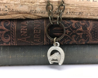 Horse Necklace Horseshoe Necklace Vintage Charm Necklace Repurposed Necklace vintage assemblage necklace Good Luck charm