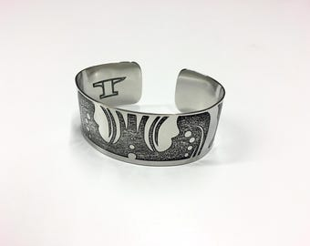 "Leaf Cuff - Etched Stainless Steel - 1"" wide"