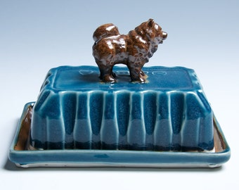 Chow Porcelain Ceramic Butter Dish / Blue and Brown