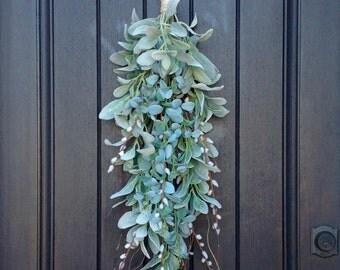 Spring/Summer Wreath-Teardrop Vertical Door Swag Decor-Artificial Floral Swag-Lambs Ear-Pussy Willow- Eucalyptus-Wispy Swag-Indoor Use