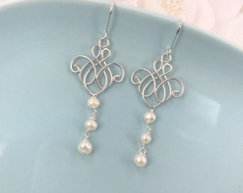 Dew - Vintage Style Matte silver filigree and Freshwater  Pearl Earrings