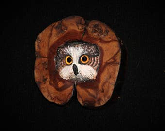 Wood Bird Carving -  Owl Art - OOAK -  Hand Carved and Sculpted - Wall Art