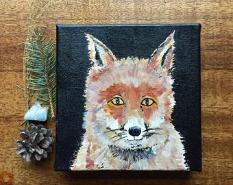 READY TO SHIP: Original Mr. Fox Art 8x8 Woodland Cabin Forest Animal Nursery Art