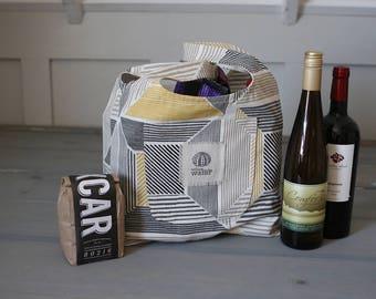 Reusable Shopping Bag, Reusable Grocery Bag, Shopping Tote Bag, Eco Friendly Bag, Fabric Market Bag, Fabric Market Tote, Gray Gold Stripes