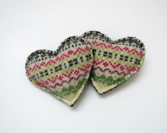 Wool Heart Hand Warmers Red Black Green and Cream Fair Isle Hearts Felted Wool Rice Pocket Handwarmers