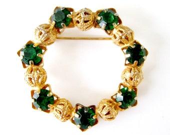 Emerald Gold Filigree Round Brooch Vintage Mid Century May Birthstone Pin