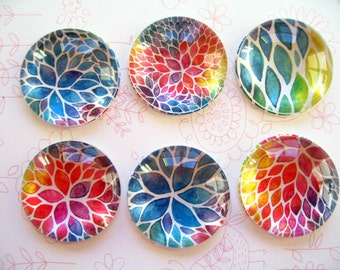 Paint Color Round Glass Magnet, Fridge Magnet, Round Muticolors Magnet - Style 3