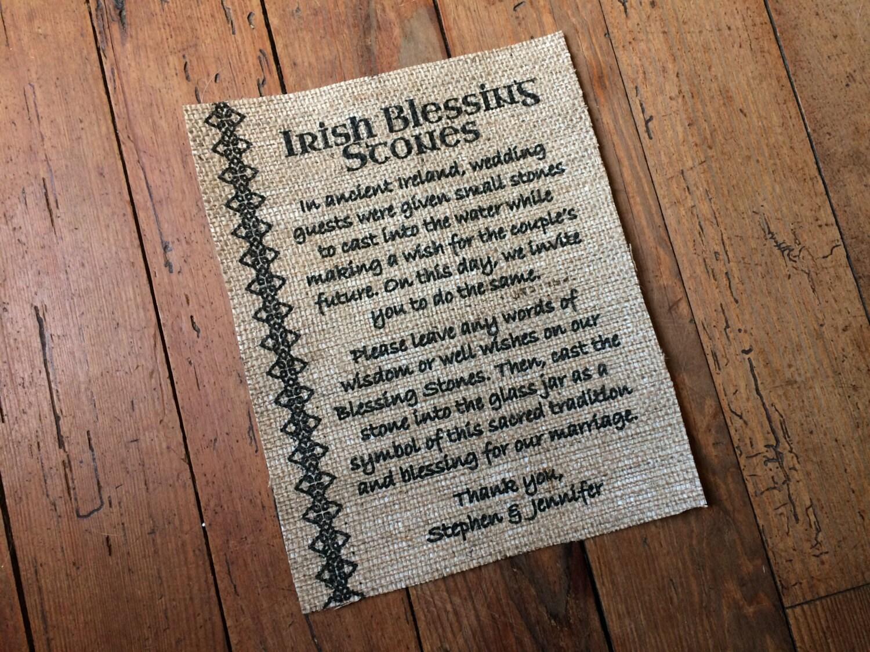 Irish Blessing Stones Sign Wedding Burlap Decor