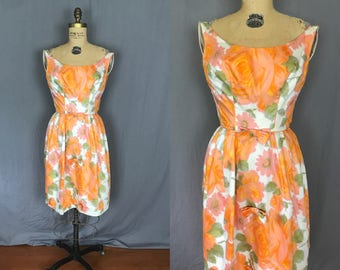 Sleeveless Orange Sorbet Floral Dress with Bows / 60's / small / pattern print flower