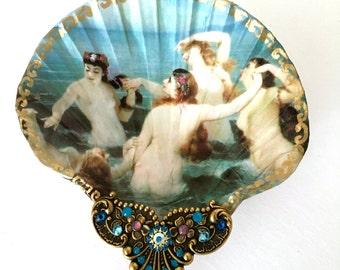 Jewelry Dish, Sirens Of The Sea Shell Jewelry Dish Trinket Dish Ring Dish Shell Art Jewelry Storage