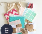 SALE! Goodie Bag VALUE PACK! Stickers, washi tape, gift tags and more in drawstring bag / Assorted colours