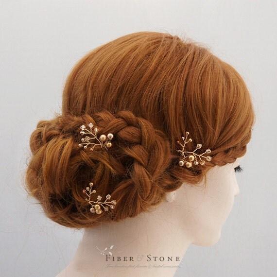 Swarovski Wedding Hair Accessory, Gold Bridal Hair Vine, Wedding Flower Hairpin, Pearl Bridal Head Piece, Gold Bridal Headpiece,Gift For Her