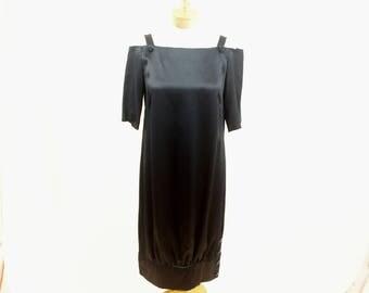 80s Black Balloon Dress * 1980s Dress * Black Dress * Off The Shoulder Dress * Evening Dress * Cocktail Dress * Black Shift Dress