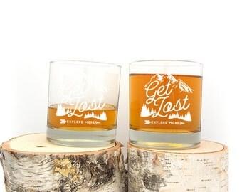 Whiskey Glasses - Get Lost Explore - Kitchen Glasses - Screen Printed Whiskey Glasses