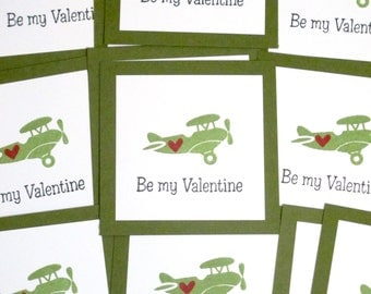 Kids Valentines- Airplane Valentines Cards- Mini Valentine Cards- Classroom Valentines Sets- School Valentines