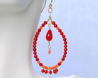 Coral Dangle by Agusha. Red and Pink Coral Hoops. Red Gemstone Earrings