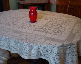 """Vintage/Antique Lace Tablecloth, Taupe 58 x 74"""" Excellent"""