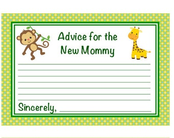 Baby Shower Mommy Advice Cards Jungle Safari Zoo Animals Words of Wisdom with Monkey & Giraffe Instant Download