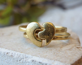 Promise ring set.His and hers rings. Set of rings. Lovers rings. Anniversary rings. Promise ring for her. Heart ring. Gold stacking ring set