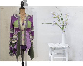 Pixie sweater coat, katwise inspired, up cycled, eco couture hoodie purple and green patchwork sweater coat, dream coat, katwise sweater