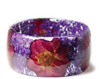 Red Rose Bracelet -Jewelry with Real Flowers- Dried Flowers- purple Bracelet - purple  Dried Flowers- purple Bracelet- Resin Jewelry