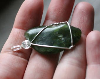 Jade Sterling Silver Wire Wrapped Pendant #7741