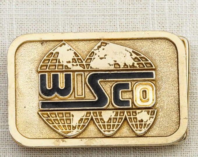 Bright Gold Wisco Belt Buckle Black Rectangle Hit Line USA Vintage Belt Buckle 7F