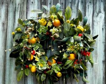 SPRING WREATH  Front Door Wreath Spring Wreath Summer Wreath Outdoor Wreath Hydrangea Wreath Lemon Wreath Wreath For The Door