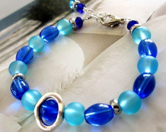 Blue Glass Bead Bracelet, Royal Blue Bead Bracelet, Sea Blue Glass Bead Bracelet, Beach Jewelry, Mango Tease, FREE US SHIPPING