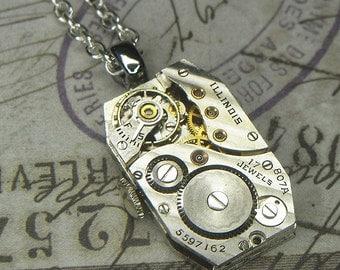 Steampunk Necklace/Pendant - Silver Rectangular ILLINOIS Watch Movement w Diagonal Stripes and Original Crown - Birthday Anniversary Gift