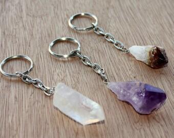 Gemstone Keychain - Quartz Crystal Keychain - Amethyst Keychain - Citrine Keychain - Natural Stone Keychain - Raw Gemstone - Key Ring