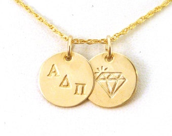 Gold Alpha Delta Pi Diamond Necklace - ADPi Gold Diamond Sisters Necklace - Official Licensed Product