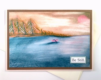 Be Still handmade meditative art greeting card - reproduction of original boat, waterscape drawing - sympathy, thinking of you