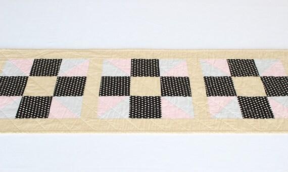 Quilted Black White Polka Dot Table Runner