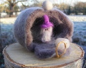 Stone Gnome in his Home Needle Felted