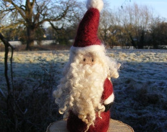 Father Christmas or Santa - Needlefelted in deep red - ornament or decoration for Christmas or Yule Large Size