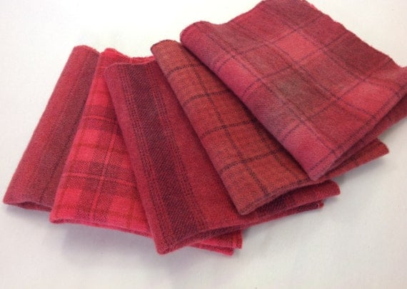 Crimson Red Textures, 5) Fat 1/8ths,  Hand Dyed Wool Fabric,  W310, Cheery Red, Vermillion Red, Deep Warm Red, OOAK