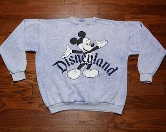 vintage 80s 90s Mickey Mouse sweatshirt denim look acid wash sweatshirt Disney Mickey jumper USA one size XL slouch