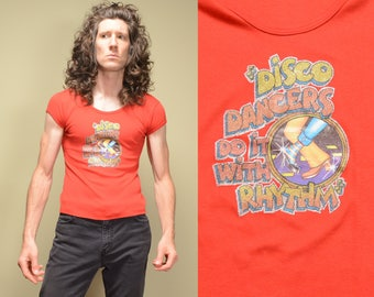 vintage 70s disco t-shirt 1970 glitter iron on tee shirt cap sleeve Disco Dancers Do It WIth Rhythm XS/S JM Collectibles