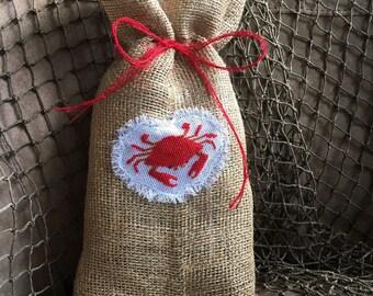 Red Crab on Natural Burlap Wine Bag Bottle Bag