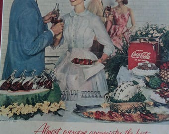 "1955 Coca Cola Ad ""Almost Everyone Appreciates the best"" Handsome Man, Lovely Young Lady White Dress by Jane Derby"